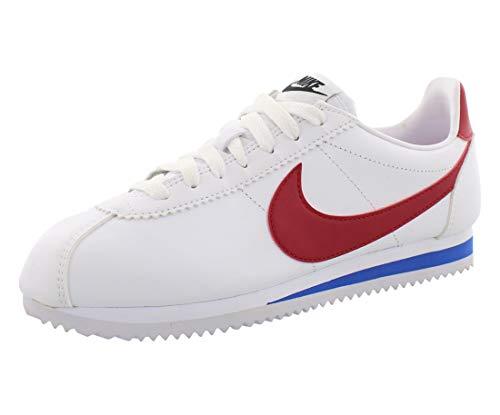 Nike Classic Cortez Leather, Zapatillas para Mujer, Blanco (White/Varsity Red-Varsity Royal 103)