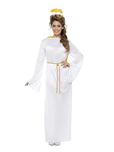 Smiffys-43116SM Disfraz de ángel Gabriel, Unisex, con Vestido, cinturón, alas y Aura, Color Blanco, S a M-Tamaño 34