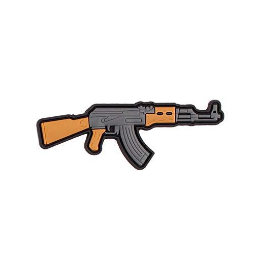 Parche 3D de goma AK 47 con diseño de pistola de MG, Airsoft, militar, 47, 3 x 8 cm #29087