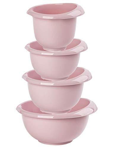 Design 1x 4er Set Rührschüssel Backschüsseln Teigschüssel Schüssel stapelbar Silikonfüße Ausgießer Kunststoff Griff in Rosa