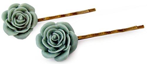 Miss Lovie Damen 2er Set Haarschmuck Modeschmuck Schmuck Geburtstag Geschenk Blüten Haarklammern Grün Bronze