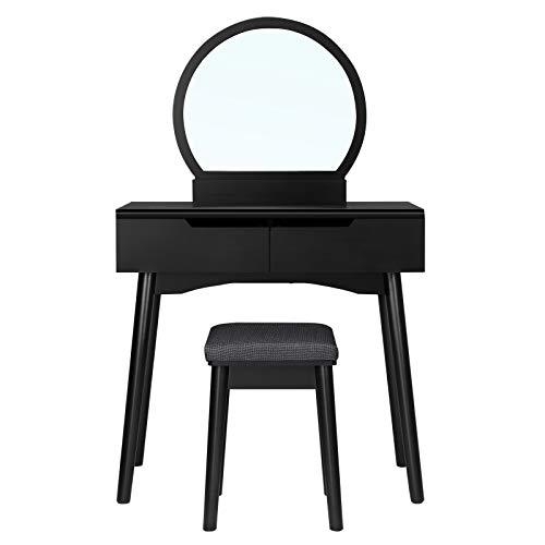 SONGMICS RDT11BK - Tocador Moderno con 2 cajones Gruesos, con rieles, Espejo Redondo y Taburete, tocador, Madera, 80 x 40 x 128 cm, Color Negro