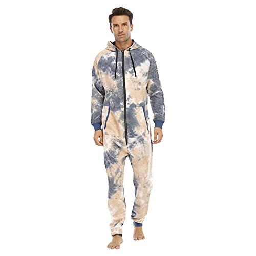 BIBOKAOKE Mono para hombre con estampado Tie Dye para correr, chándal, chándal, chándal, chándal deportivo con capucha, mono para dormir, pijama, pijama, mono para casa, pijama, pelele