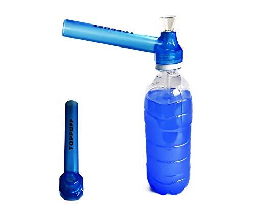 【喫煙具専門けむり屋】 水パイプ ボング 作成キット 選べるカラー5色 ペットボトル を パイプ にできる ガラスパイプ と マウスピース (ブルー)