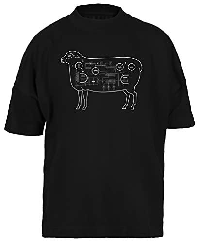 Eléctrico Oveja Camiseta Holgada Negra para Hombre Mujer Unisex Mangas Cortas Black Baggy Tshirt Unisex XXL