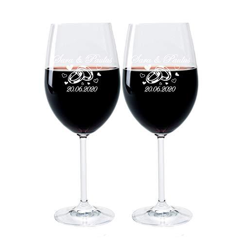 LEONARDO FORYOU24 2 Weingläser mit Gravur des Namens und Motiv Ringe Wein-Glas graviert Hochzeit Geschenkidee