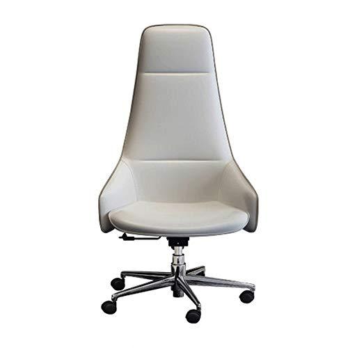 Bureau stoel, in hoogte verstelbaar, moderne minimalistische leren stoel, Bureaustoel, stijlvolle Swivel Computer Stoel (wit)