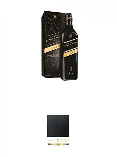 Johnnie Walker Double Black 0,7 Liter + Schiefer Glasuntersetzer eckig ca. 9,5 cm Durchmesser
