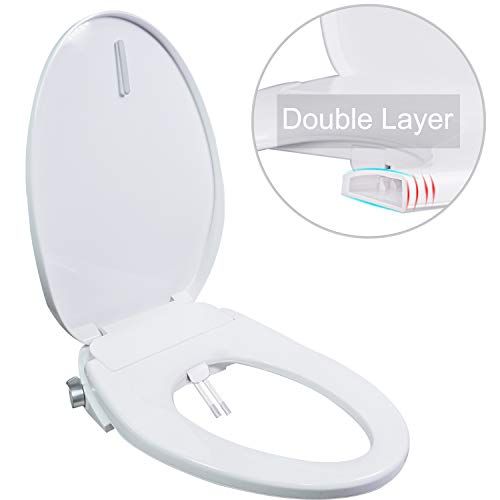 Hibbent Bidet Seat Dual Nozzles for Rear & Feminine Cleaning - No Electricity Bidet Toilet Seat Sleek Design - On/OFF Metal T Adapter Included (Elongated - OB306)