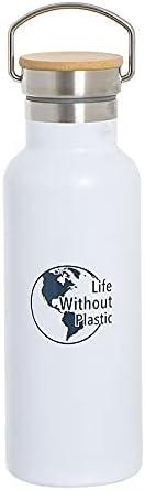 Botella de Acero inoxidable doble pared, Dibujo Tema ambiental, botella para agua sin BPA Ecológica, 500 ml, Mantener Bebida Caliente 6 h y Fria 24 h, Ideal para deporte, Viajes, Gym (Blanco)