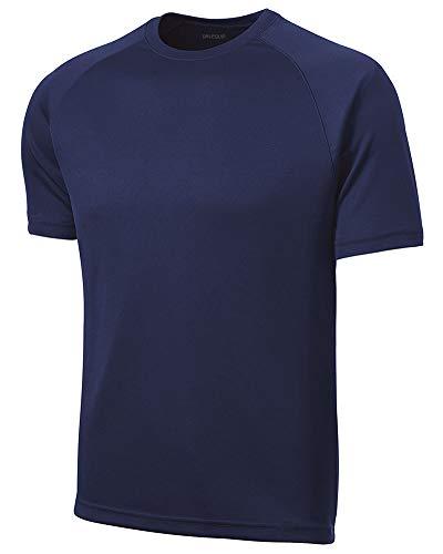 DRIEQUIP Herren Raglan-T-Shirt, feuchtigkeitstransportierend, kurzärmlig, Größen XS-4XL - Blau - Mittel