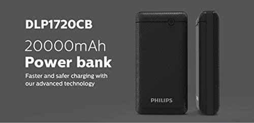 Philips DLP1720CB Fast Charging Power Bank 20000mAh with Lithium Polymer Battery Black(Dual USB Output Port, with Micro USB and Type c Input