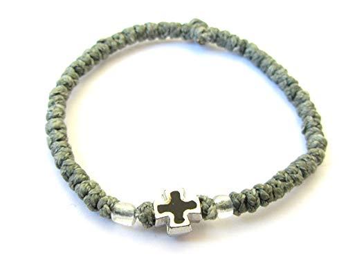 Iconsgr Handmade Christian Orthodox Komboskoini Chotki Prayer Rope Bracelet Olive Green Black Cross