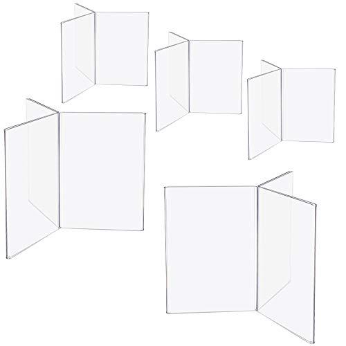 Danieli   Kit da 5 pezzi Espositore Porta Menu da Tavolo 6 posti - formato A6-1/3 di A4 e A5   Porta Avvisi da Banco in Plexiglass Trasparente (A6)