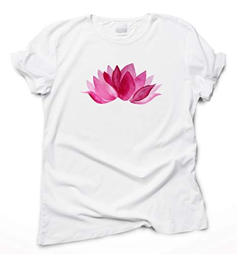 Camiseta Algodón Orgánico Flor de Loto Rosado, Ropa Yoga Pilates Mujer Hombre, T-Shirt Manga Corta, S-XXL Tallas Grandes | Tshirt Camisa Top Deporte Viaje Accesorios Esterilla Blanca Negra Grafica