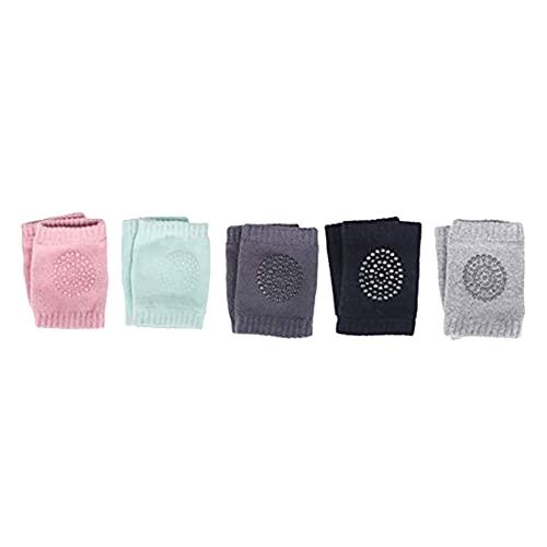 Baalaa Rodilleras antideslizantes para bebé de bebé con rodilleras antideslizantes de algodón, 5 pares