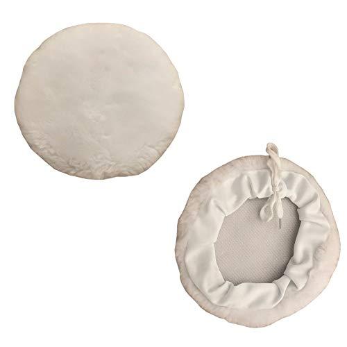 Höfftech 2er Ø150mm Lammfell Polierscheiben Set | Polierpad mit Kordelzug | Polierhaube | Polierteller | Polieraufsatz | Polierfell aus Wolle