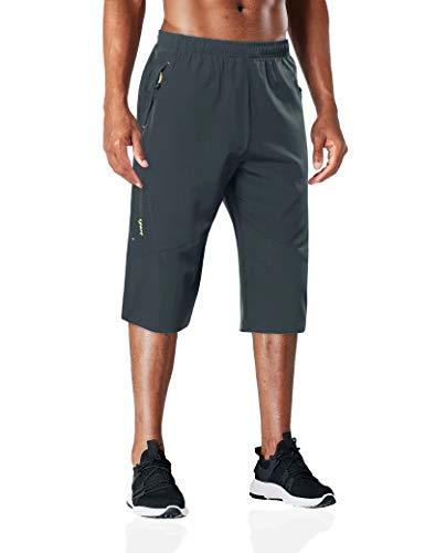 BIYLACLESEN Mens Capri Shorts Performance Pants Quick Dry Pants Men Hiking Pants Mens 3/4 Pants Men Capri Jogger Summer Shorts for Men Darkgray