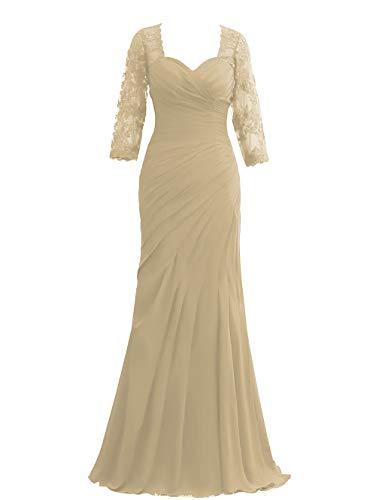 HUINI Damen Abendkleider Ballkleider Lang Chiffon Hochzeitskleider Elegant Standesamt Brautkleider mit 1/2 Ärmel Champagne 42
