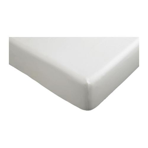 IKEA Spannbettlaken DVALA Bettlaken in 90 x 200 cm für Matratzen bis 25cm Stärke - 100% Baumwolle - WEISS