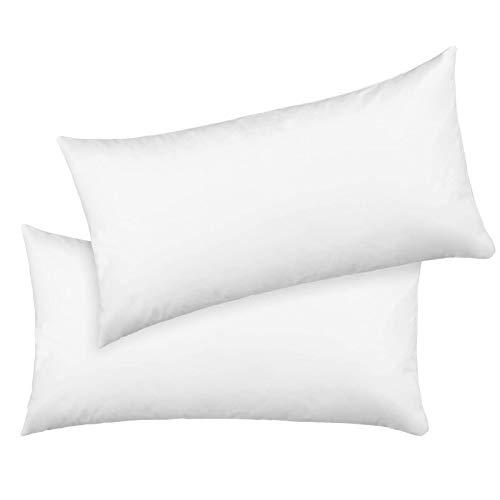 Homfa Lot de 2 Taie d'oreiller de Haute Qualité Housse de Coussin Rectangulaire Imperméable Housse de Taie d'oreiller Blanche Confortable 40x80cm