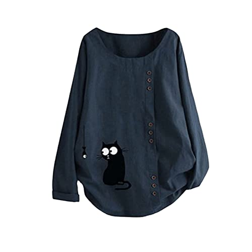 Tshirt Damen Damen T Shirt Weiß Kurzarm Tops Basic T-Shirt Loose Fit T-Shirts Herbst Pullover Tunika Plus Size Damen Oberteil Longsleeve Damen Shirt Rosa Damen Damen T-Shirt Tops Sommer (Blue,L)