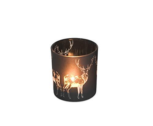 EDZARD Teelichthalter Hirsch, schwarzes Glas, Höhe 8 cm