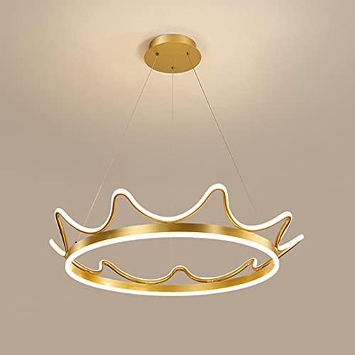 Lámpara Colgante LED Corona Dorada Comedor Aluminio Araña De Altura Regulable, Luz De Techo Regulable Con Mando A Distancia Para Comedor Cocina Sala De Estar,77cm64w