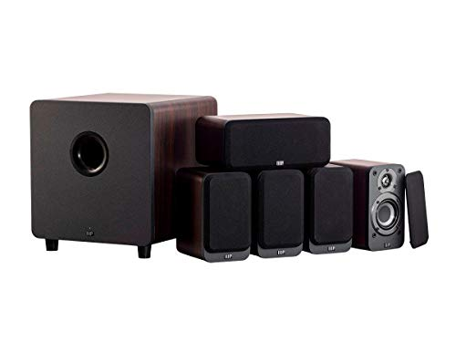 Monoprice HT-35 Premium 5.1-Channel Home Theater System - Espresso, with Powered Subwoofer, Low Profile Speaker Grilles, Secure Mounting Option, SaddleBrown (139358)