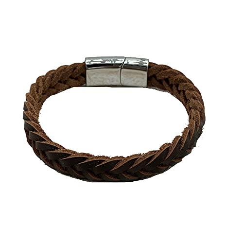 Pulsera de cuero trenzado para hombre, cierre de pulsera de cuero auténtico, pulsera trenzada, estilo rústico, marrón