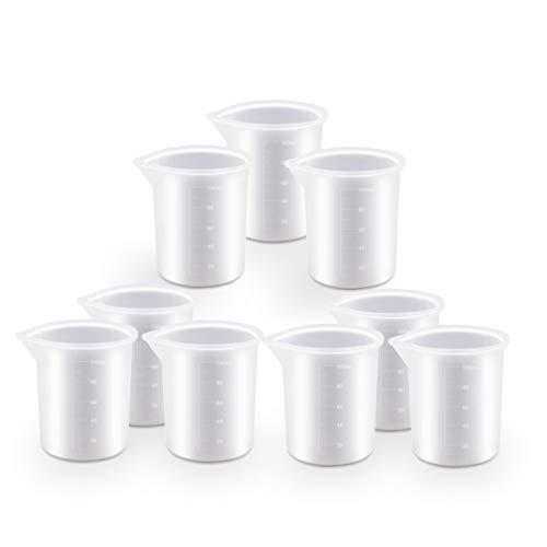 Kabi 9 Stück Silikon-Messbecher, 100 ml Silikon-Becher für Harz, zum Selbermachen von Kunsthandwerk, Epoxidharz, DIY Kleber Werkzeuge Gussformen für Kunst Wachsen Küche Antihaft-Silikon-Mixbecher