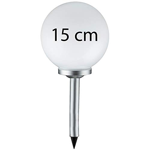 Grafner® Solarkugel Ø15 cm | LED | mit Erdspieß | Wegleuchte Gartenlampe Kugelleuchte LED-Leuchte Gartenleuchte Solar Kugel