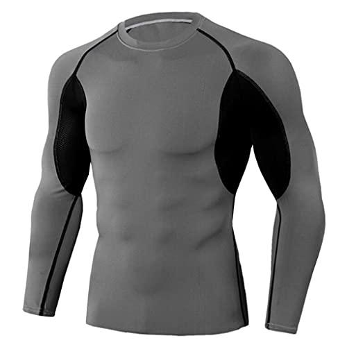 JTSYUXN Camiseta de Entrenamiento de Fitness para jóvenes, Camiseta de Hombre de Manga Larga y Cuello Redondo elástico de Secado rápido, Camiseta Ajustada Que Absorbe la Humedad S-XXXL