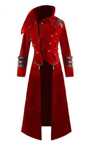 Qian Qian Herren Steampunk viktorianischen Mantel Vintage mittelalterlichen Ritter Smoking Jacke Gothic Frack Jacke Karneval Vampir Kostüm (XL, Rot)