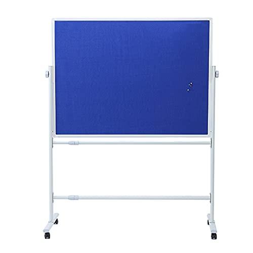 RENRUIRUI Tablón De Anuncios De Doble Cara con Soporte Rodante, 60 X 90 Cm, Tela Azul Y Tablero De Corcho, para Exhibición Y Presentación En El Aula De Oficina