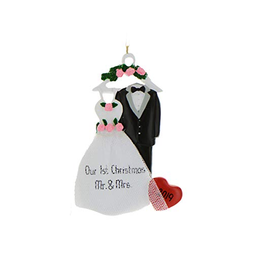 Personalized Christmas Ornaments 2017 Wedding Attire Bride Groom Couple Hanger Rose Heart Holiday Tree Ornament New Wedding Gift Marriage Real Tulle