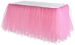 Adeeing Tulle Table Skirt, Tutu Pink Table Skirting Cover for Party, Baby Shower, Wedding, Birthday, Home Decoration - 1Yard (Pink)