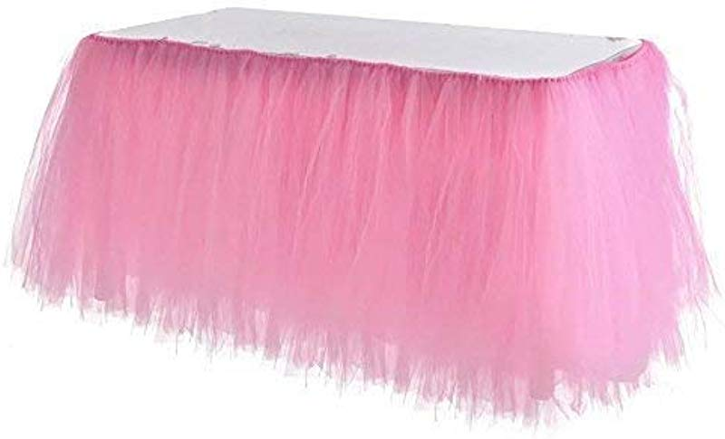 Adeeing Tulle Table Skirt Tutu Pink Table Skirting Cover For Party Baby Shower Wedding Birthday Home Decoration 1Yard Pink