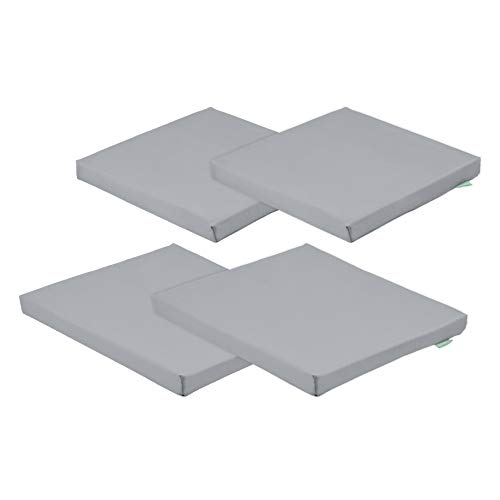 Shopisfy Grey Water Resistant Seat Pads and Cushions for Outdoor Garden/Patio Furniture - Carolina 4pc Seat Pad Set. *FURNITURE IS NOT INCLUDED*
