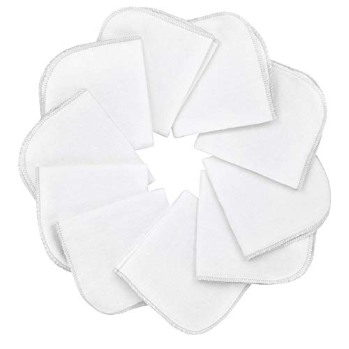 Mias 10 Baby-Waschlappen weiß aus Molton Flanell – 100% Baumwolle, mit Schlaufe, schadstofffrei/Baby-Tücher/Kosmetik-Tücher/Allzwecktücher
