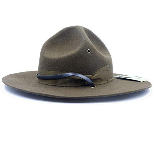 Mütze, Militär-Kampagnenhut, Bohren Sergeant Instructor Mountie Ranger Hut 100% Wolle - Grün - Large=59 cm(7 3/8)