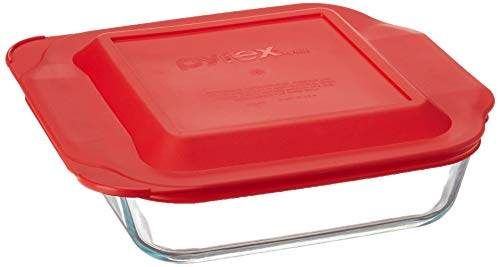 "Pyrex SYNCHKG089152 Get Dinner Away Large Handle 8"" x 8"" Square Dish. Making it Easy to Monitor Casserole Cooking and Brownie Baking from a, 4, Red 8"""