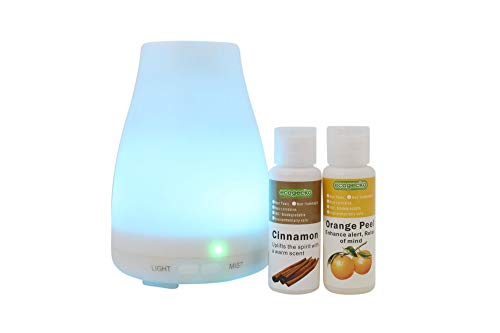 doterra at home peels EcoGecko Aromatherapy Essential Oil Diffuser, Aroma Oil Diffuser with Color Changing LED Lights Includes Cinnamon and Orange Oils