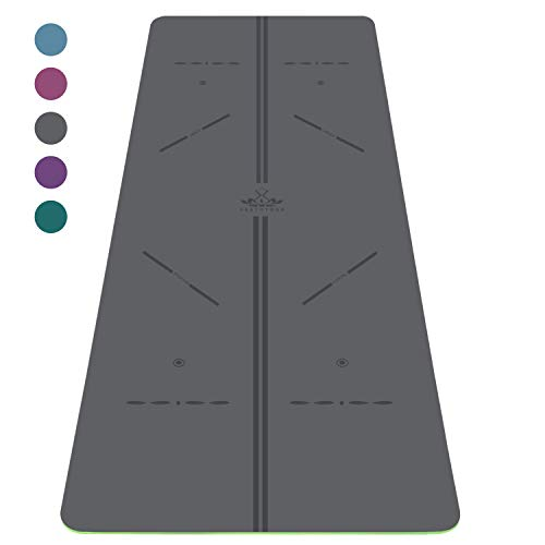 Heathyoga ProGrip Non Slip Yoga Mat with Alignment Lines, Revolutionary Wet-Grip Surface & Eco Friendly Material, Perfect for Hot Yoga and Bikram,183CMX66CM (Grey)