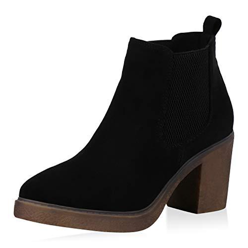 SCARPE VITA Damen Stiefeletten Chelsea Boots Wildleder-Optik Schuhe Mid Heel Kurzschaft-Stiefel Booties Blockabsatz 173088 Schwarz Braun 40
