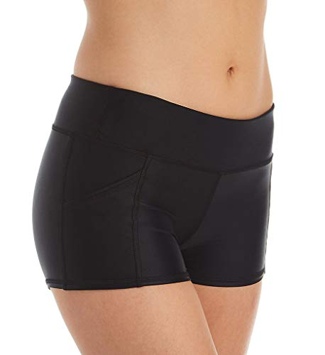 Body Glove Women's Rider Elastic Waist Hybrid Swim Short with UPF 50+, Smoothie Black, Medium