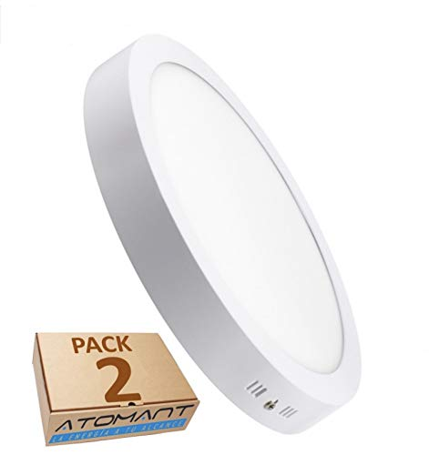 Pack 2x Plafonnier Downlight LED rond 18 W, surface blanc neutre (4500K). Lampe du Plafond surface. Driver incluse.