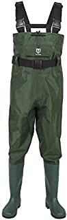TideWe Bootfoot Chest Wader, 2-Ply Nylon/PVC Waterproof Fishing & Hunting Waders for Men and Women Green Size 13
