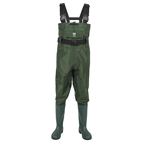 TideWe Bootfoot Chest Wader, 2-Ply Nylon/PVC Waterproof Fishing & Hunting Waders for Men and Women Green Size 11