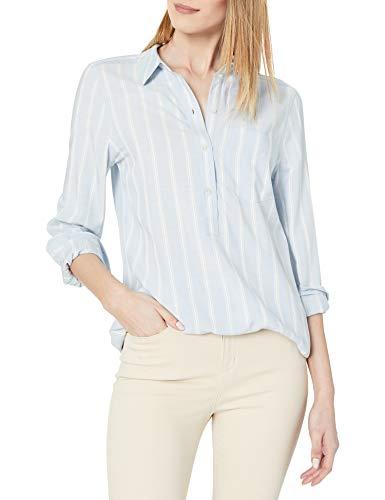 Amazon Brand - Daily Ritual Women's Soft Rayon Slub Twill Long-Sleeve Popover Tunic, Light Blue Awning Stripe , Large